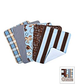 Trend Lab Cowboy Baby 5-Pack Burp Cloth Bundle Box Set