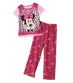 Disney® Girls' 4-7 2-Piece Minnie Mouse Leopard Print Set