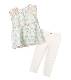 DKNY® Girls' 2T-6X 2-Piece Floral Print Set