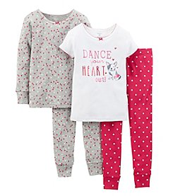 Carter's® Girls' 2T-7 4-Piece Snug-Fit Cotton Pjs