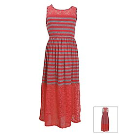 Bonnie Jean® Girls' 7-16 Striped Maxi Lace Bottom Dress