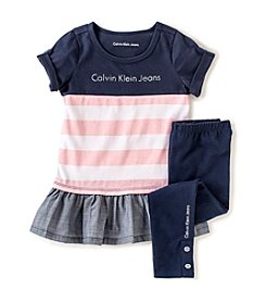 Calvin Klein Girls' 2T-6X  2-Piece Striped Chambray Set