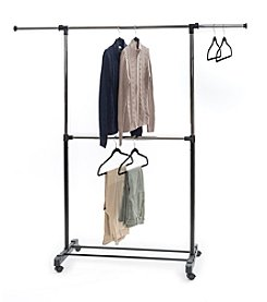 LivingQuarters Double Rod Extendable Clothes Rack