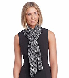Calvin Klein Poly Chiffon Graphic Plaid Scarf