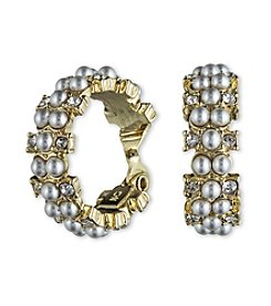 Anne Klein® Goldtone Pearl Clip Earrings