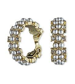 Anne Klein® Goldtone Pearl Clip Earrings