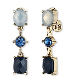 Anne Klein® Goldtone and Blue Clip Earrings
