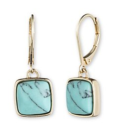 Anne Klein® Goldtone and Turquoise Drop Earrings