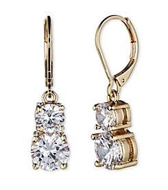 Anne Klein® Goldtone Cubic Zirconia Double Drop Earrings
