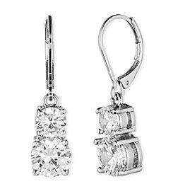 Anne Klein® Silvertone Cubic Zirconia Double Drop Earrings