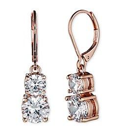 Anne Klein® Rose Goldtone Cubic Zirconia Double Drop Earrings