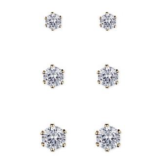 Anne Klein® Goldtone Set of Three Cubic Zirconia Earring