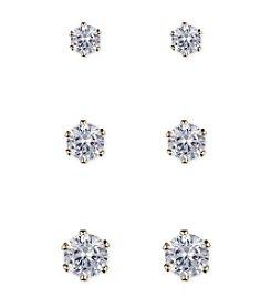 Anne Klein® Goldtone Set of Three Cubic Zirconia Earrings