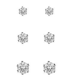 Anne Klein® Silvertone Set of Three Cubic Zirconia Earrings