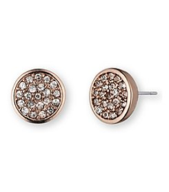 Anne Klein® Rose Goldtone Pave Earrings
