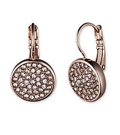 Anne Klein® Rose Goldtone Pave Drop Earrings