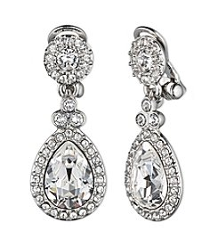 Givenchy® Silvertone Crystal Clip Earrings