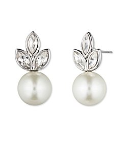 Givenchy® Silvertone Pearl Post Earrings