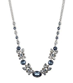 Givenchy® Silvertone and Blue Frontal Necklace