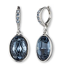 Givenchy® Silvertone and Blue Frontal Oval Drop Earrings