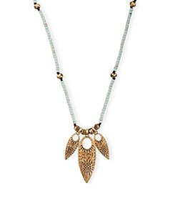 Lucky Brand® Goldtone Turquoise Beaded Leaf Necklace