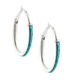 Lucky Brand® Silvertone Turquoise Beaded Hoop Earrings