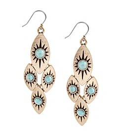 Lucky Brand® Goldtone and Turquoise Drop Earrings
