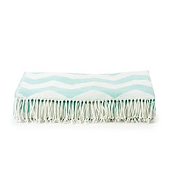 LivingQuarters Aqua and White Woven Jaquard Throw