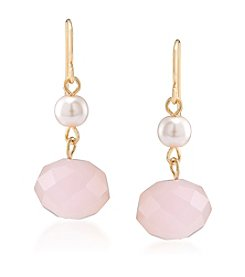 Carolee® Goldtone Gemstone Garden Peach Double Drop Pierced Earrings