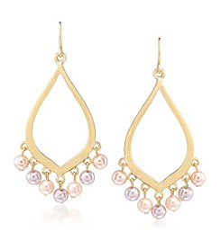 Carolee® Goldtone Peach Blossom Gypsy Hoop Pierced Earrings