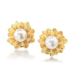 Carolee® Goldtone Gemstone Garden Flower Button Clip On Earrings