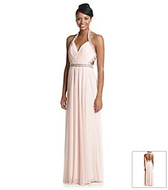 My Michelle® Side Cutout Halter Grecian Dress
