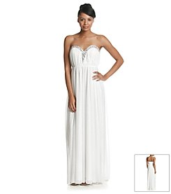 My Michelle® Strapless Glitter Mesh Dress With Jeweled Plung Neck