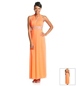 My Michelle Chiffon Halter Beaded Waist Dress