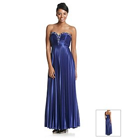 My Michelle® Strapless Sweetheart Dress With Deep V Neck With Stones