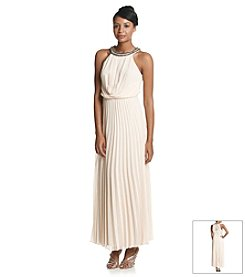 Bee Darlin' Pleated Halter Dress With Studded Neck