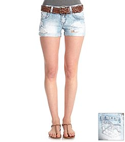 Wallflower® Belted Acid Jean Destroyed Shorts
