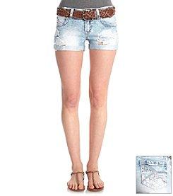 Wallflower® Belted Acid Jean Destroyed Shorts
