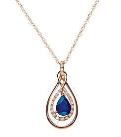 0.09 ct. t.w. Diamond and Sapphire Pendant Necklace in 10K Yellow Gold