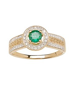 0.21 ct. t.w. Diamond and Emerald Ring in 10K Yellow Gold