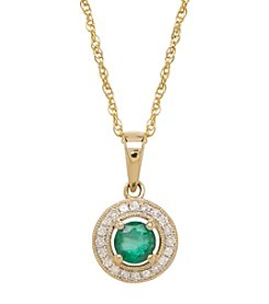 0.10 ct. t.w. Diamond and Emerald Pendant Necklace in 10K Yellow Gold