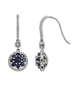 0.21 ct. t.w. Diamond and Sapphire Earrings in 10K White Gold