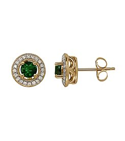 0.15 ct. t.w. Diamond and Emerald Earrings in 10K Yellow Gold