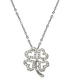 0.16 ct. t.w. Diamond Clover Pendant Necklace in 10K White Gold