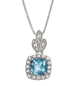 Aqua and White Topaz Necklace in Sterling Silver
