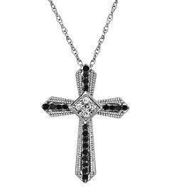 0.20 ct. t.w. Diamond Cross Pendant Necklace in Sterling Silver