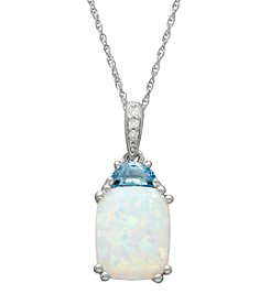 Laboratory Created Opal Pendant Necklace in Sterling Silver