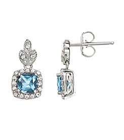 Aqua and White Topaz Earrings in Sterling Silver