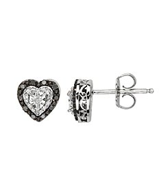 0.01 ct. t.w. Diamond Heart Earrings in Sterling Silver