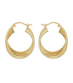 12K Yellow Gold Row Tube Hoop Earrings